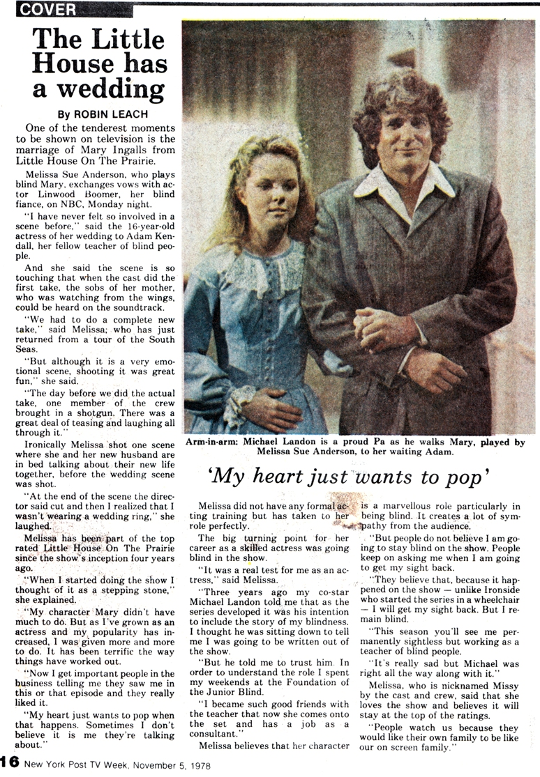 Melissa Sue Anderson in The Little House has a wedding from the New York Post TV Week November 1978